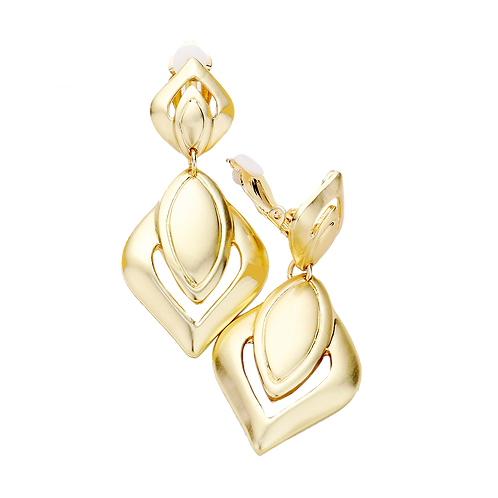 Burnished Metal Drop Clip On Earrings, Gold