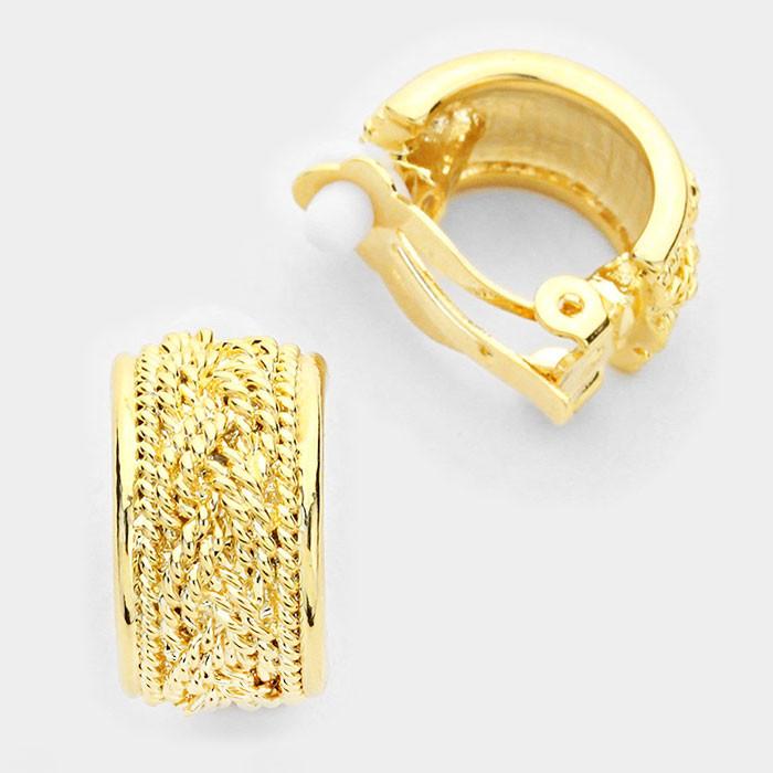 Gold Demi-Hoop Clip-On Earrings
