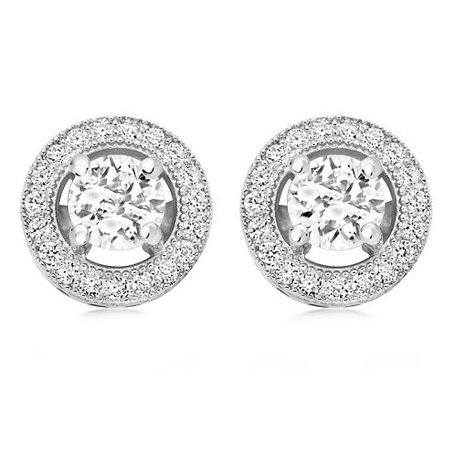 Dainty round crystal clip on earrings