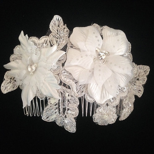 Handmade ivory lace applique bridal hair comb