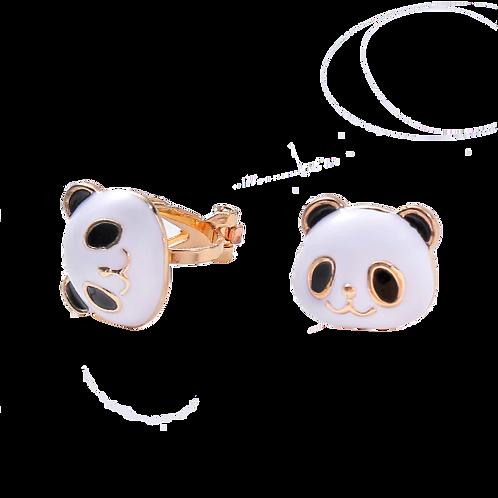 Clip-On Panda Stud Earrings