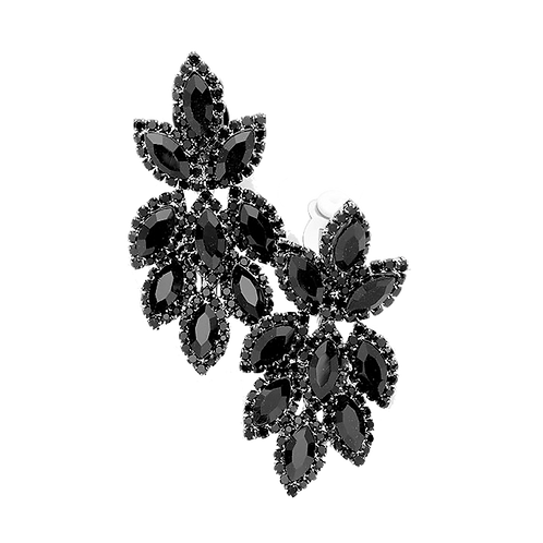 Short Crystal Feather Chandelier Clip Earrings, Black