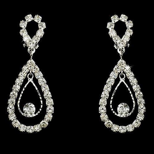 Clip on or pierced rhinestone wedding earrings