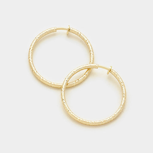 4.5cm Mottled Texture Gold Clip On Hoops