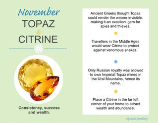 November's Birthstones – Topaz and Citrine