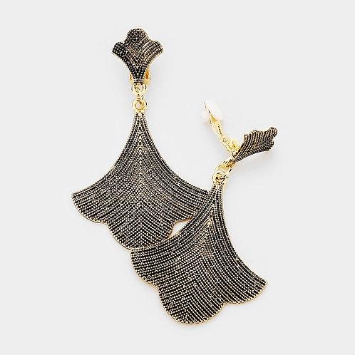 Antiqued Gold Art Nouveau Metal Fan Clip Earrings