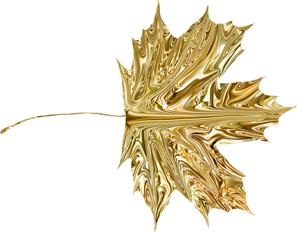 Pure Gold Shaped Into a Leaf