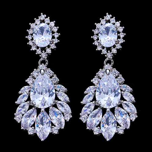 Clear CZ Bridal Drop Clip Earrings