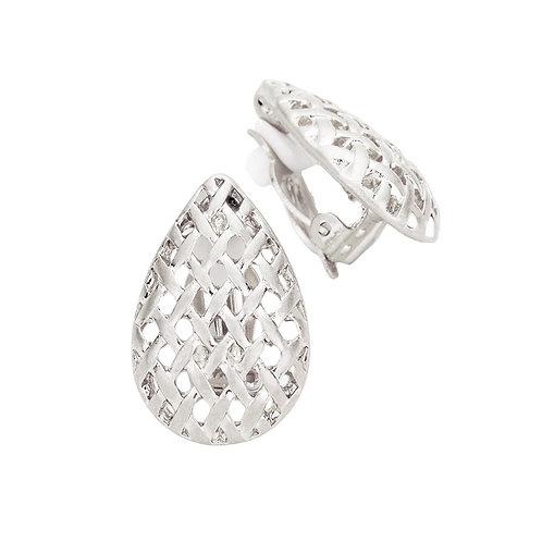 Clip-On Woven Pear Drop Earrings, Silver