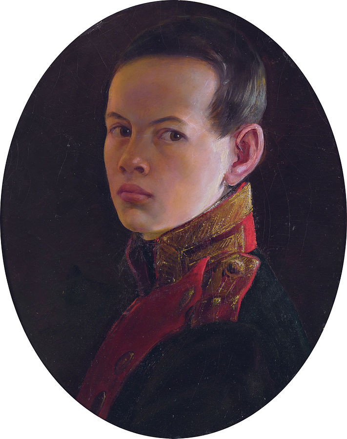 Young Tsar Alexander II in his Red and Green Military Uniform