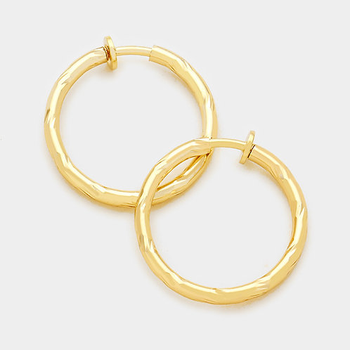 4.5cm Gold Twist Clip-On Hoops