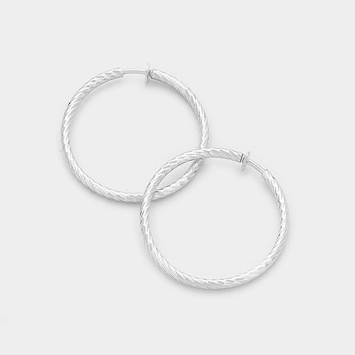 3cm Patterned Silver Clip On Hoops