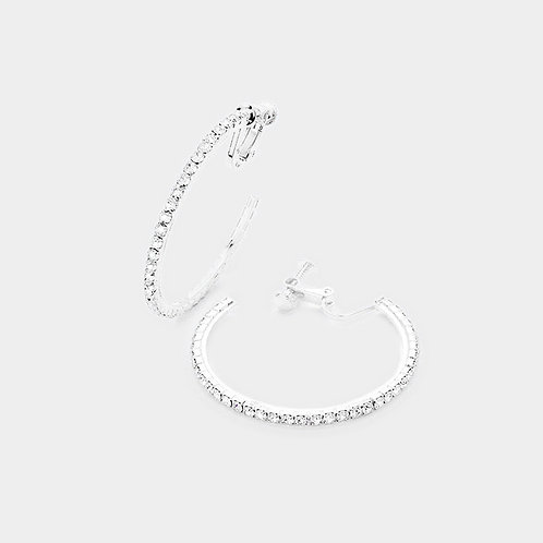 4cm Rhinestone Studded Clip-On Hoop, Silver