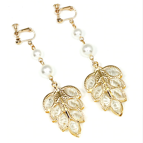 Pearl and Crystal-Filled Gold Leaf Clip Earrings
