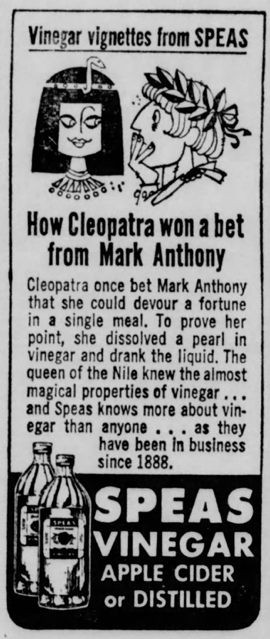 Speas Vinegar Advert Featuring Cleopatra