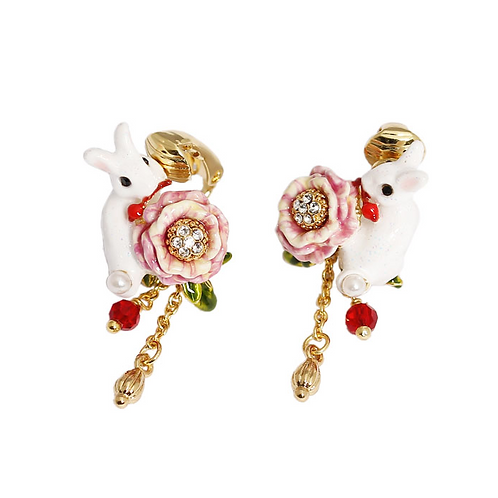 White Rabbit & Rose Clip-On Earrings