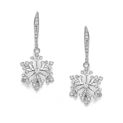 Lever back silver snowflake earrings