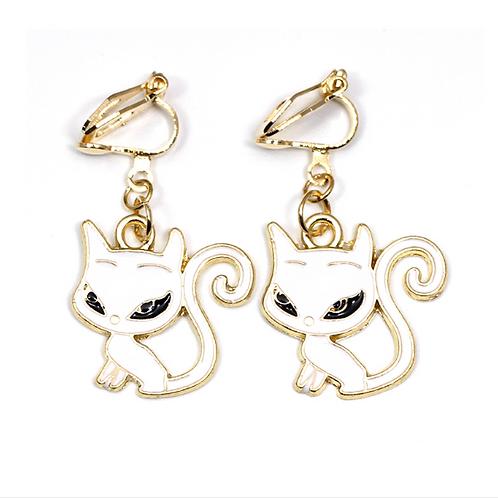 White Cat Enamelled Clip On Earrings
