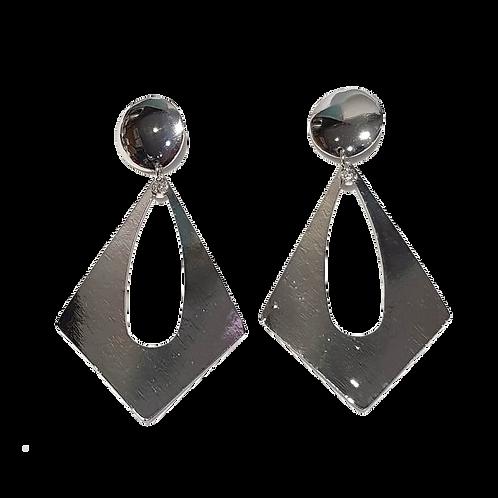 Large Open Diamond Metal Clip Earrings, Silver