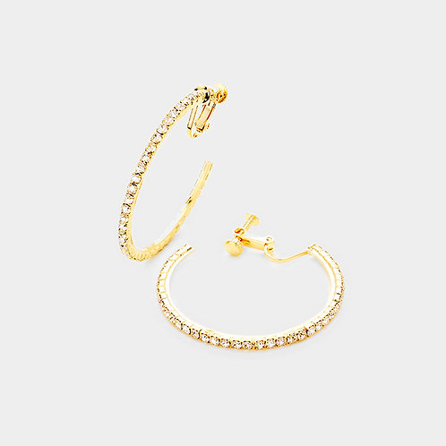 4cm Rhinestone Studded Clip-On Hoops, Gold