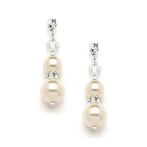 Honey ivory double pearl drop earrings