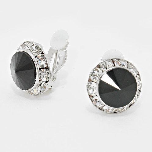 Austrian Crystal Button Clip On Earrings, Jet Black