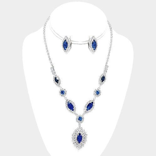 Deep Blue Rhinestone Clip Earring Necklace Set