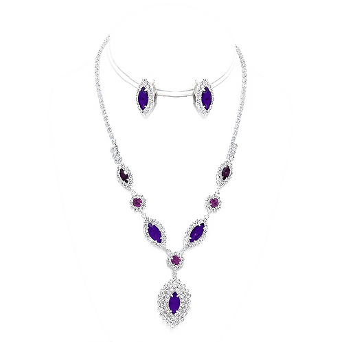 Clip on earring necklace set with amethyst purple rhinestones