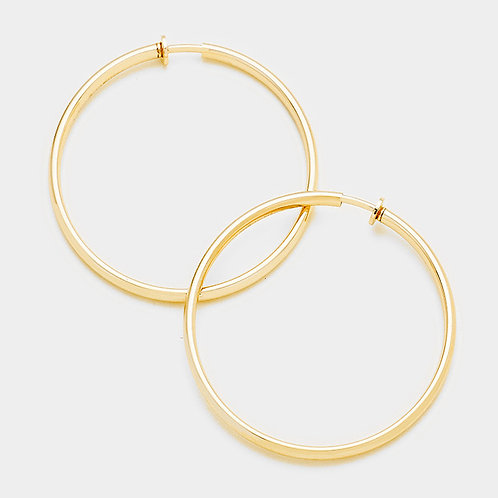 Large gold spring clip on hoops