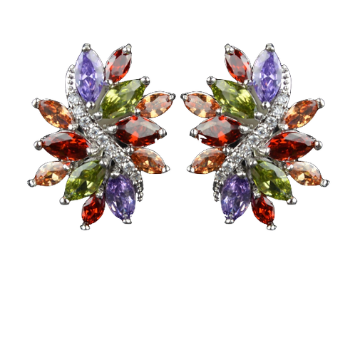 Multi-Coloured Marquis Crystal Sweep Clip On Earrings