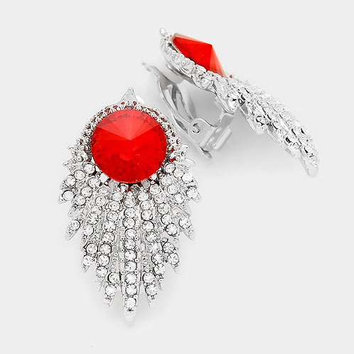 Art Deco Crystal Spray Clip Earrings with Red Stone