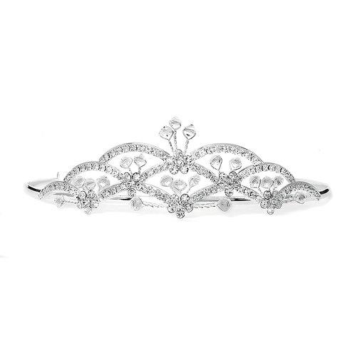 Art Deco Silver Tiara with Crystal Sprays