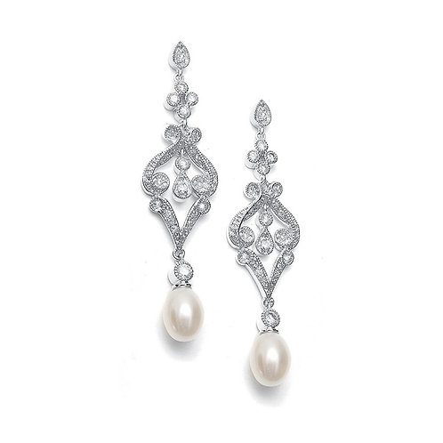 Vintage styled freshwater pearl and crystal earrings