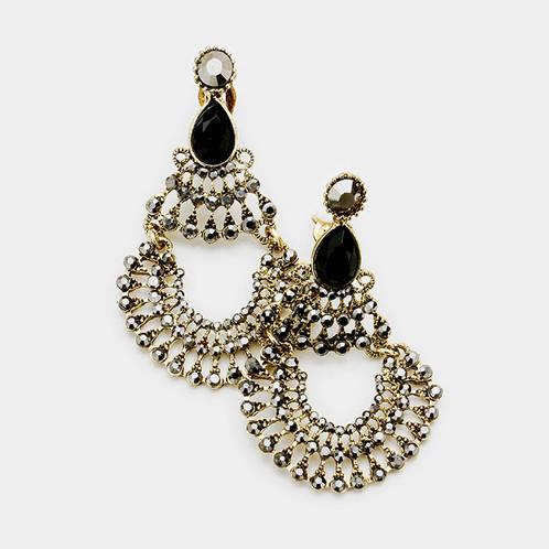 Boho hematite chandelier clip earrings clip on earrings boho hematite chandelier clip earrings aloadofball Gallery