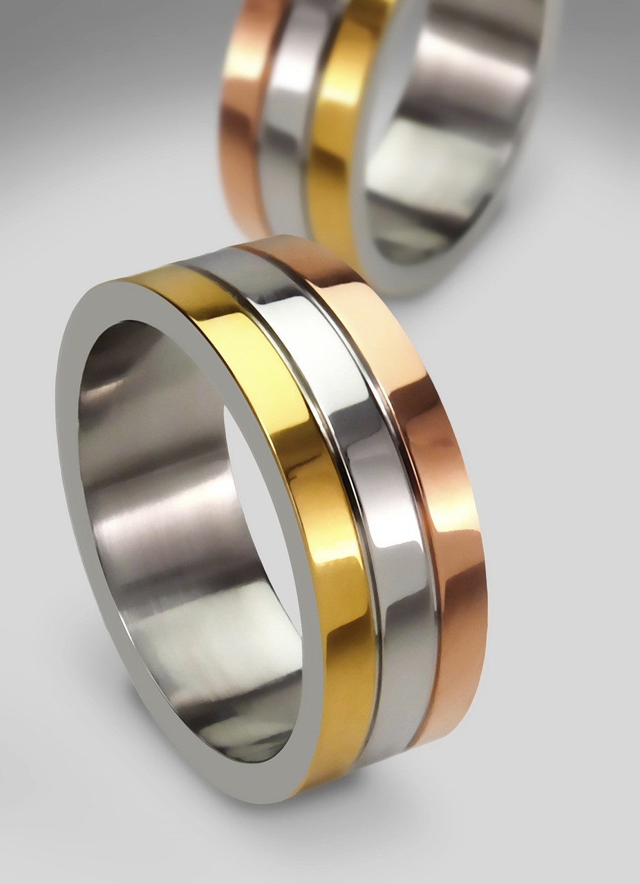 Ring of Yellow White and Rose Gold