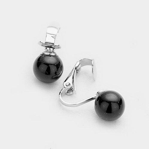 12mm Black Faux Pearl Clip Earrings