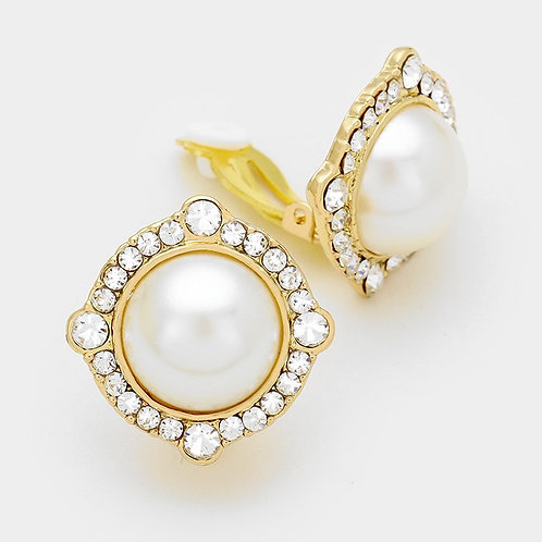 Vintage styled pearl button clip on earrings gold
