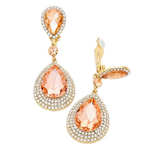 Peach Crystal Double Teardrop Clip Earrings