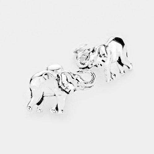 Silver Elephant Clip On Earrings