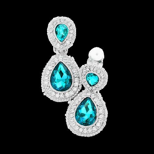 Dainty Pear Drop Clip Earrings, Aqua Blue