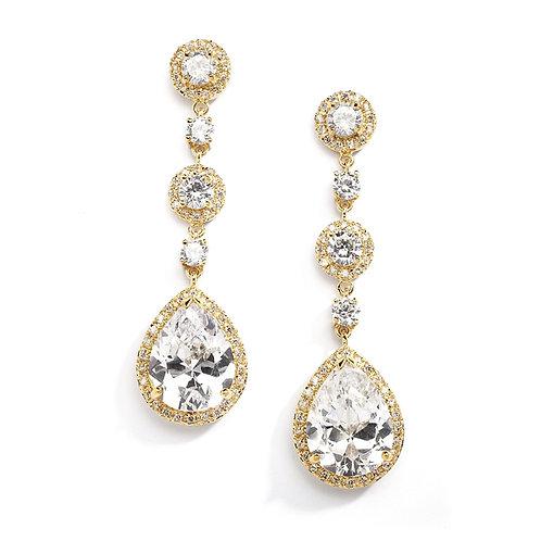 Gold Clip On Bridal Earrings