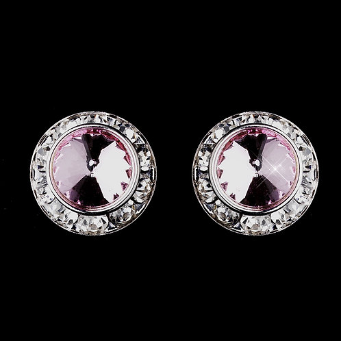 Soft pink crystal button stud earrings