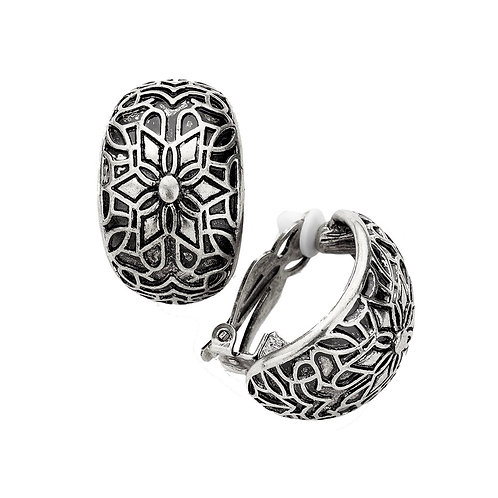 Patterned Chunky Antiqued Silver Tone Demi Hoops