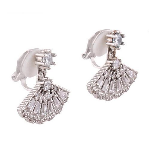 Dainty Art Deco Crystal Fan Clip Earrings
