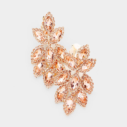 Short Crystal Feather Chandelier Clip Earrings, Peach