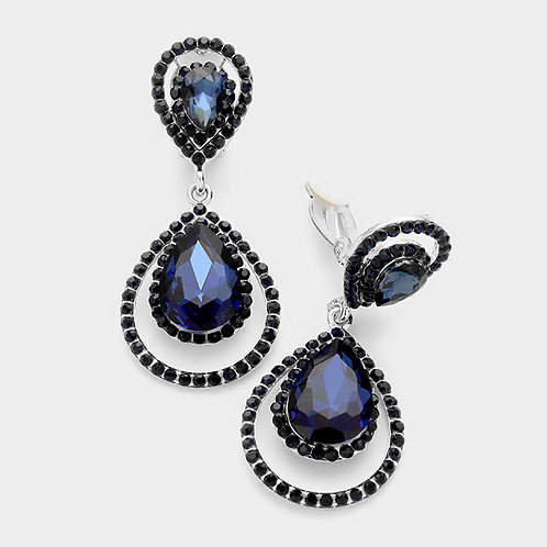 Pave Framed Double Pear Drop Clip Earrings, Navy