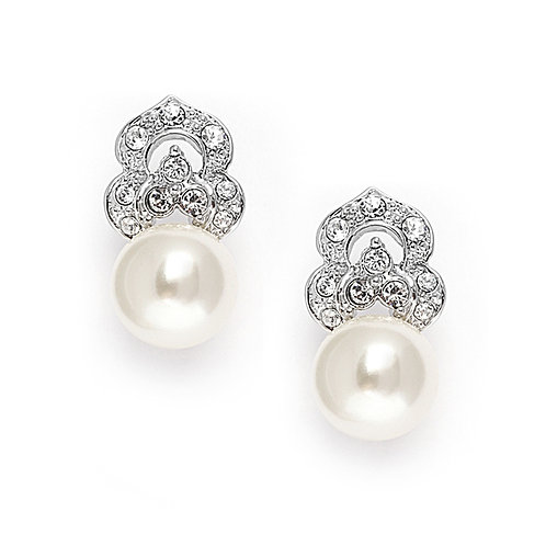 Pretty vintage styled pearl and crystal earrings