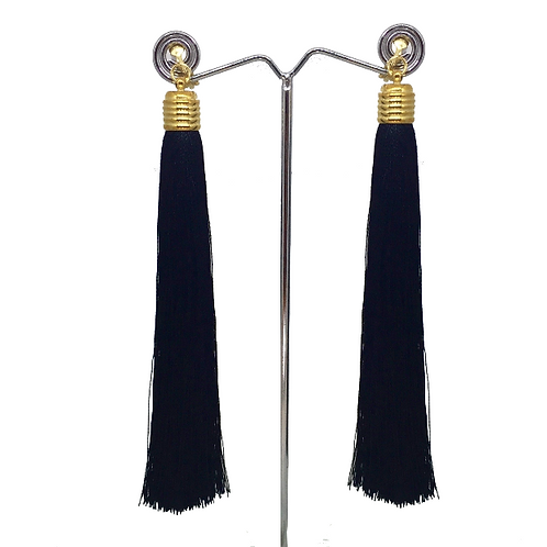 Black Tassel Clip On Earrings