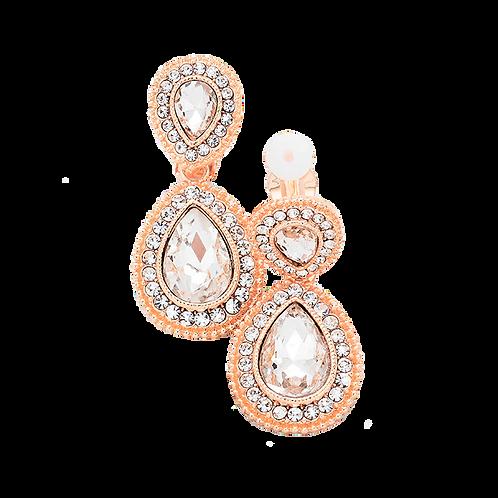 Dainty Pear Drop Clip Earrings, Rose Gold