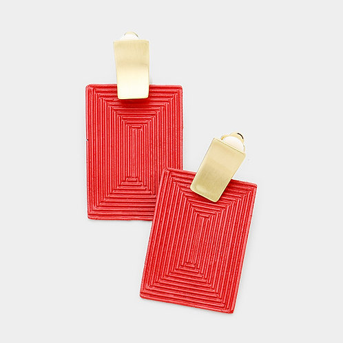Red Metal Rectangle Clip Earrings